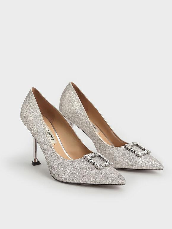 婚禮系列:金蔥寶石方釦跟鞋, 銀色, hi-res