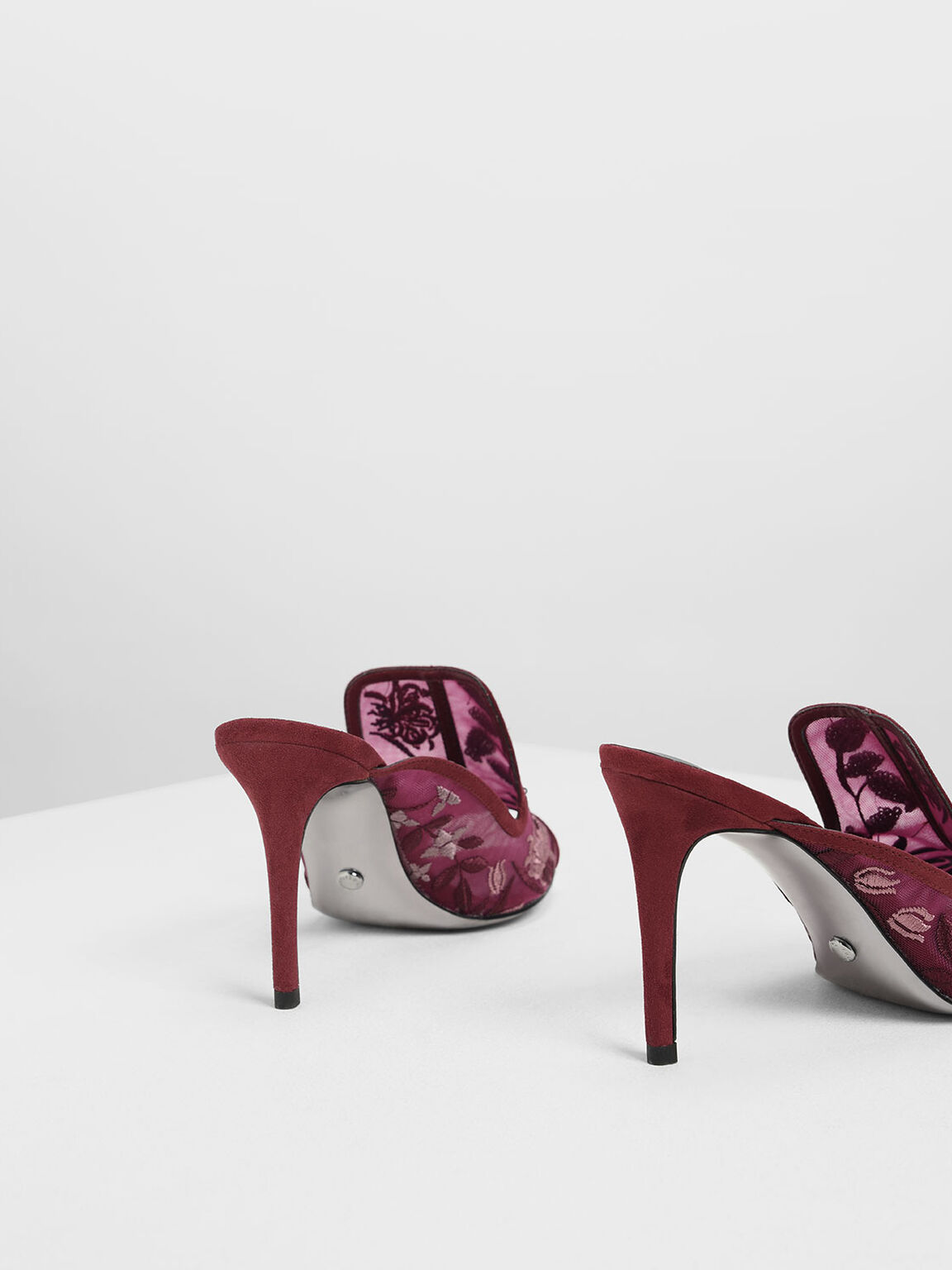 Mesh Embroidered Heels, Prune, hi-res