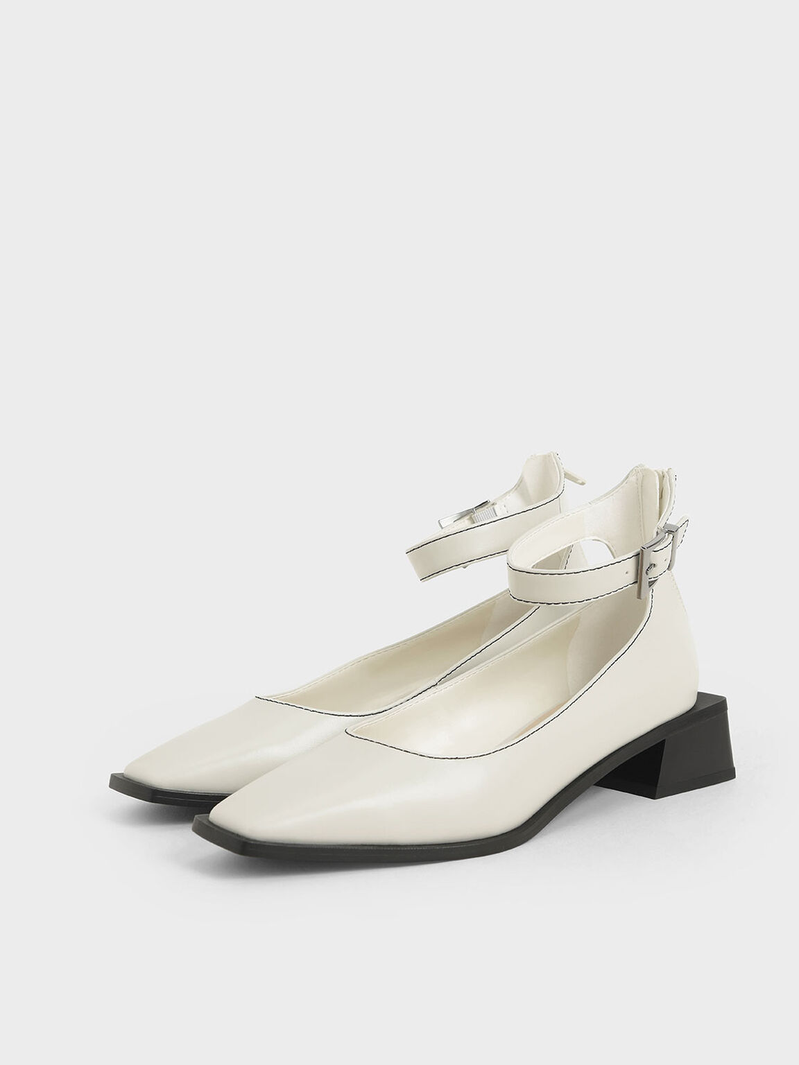 Ankle Strap Square Toe Pumps, White, hi-res
