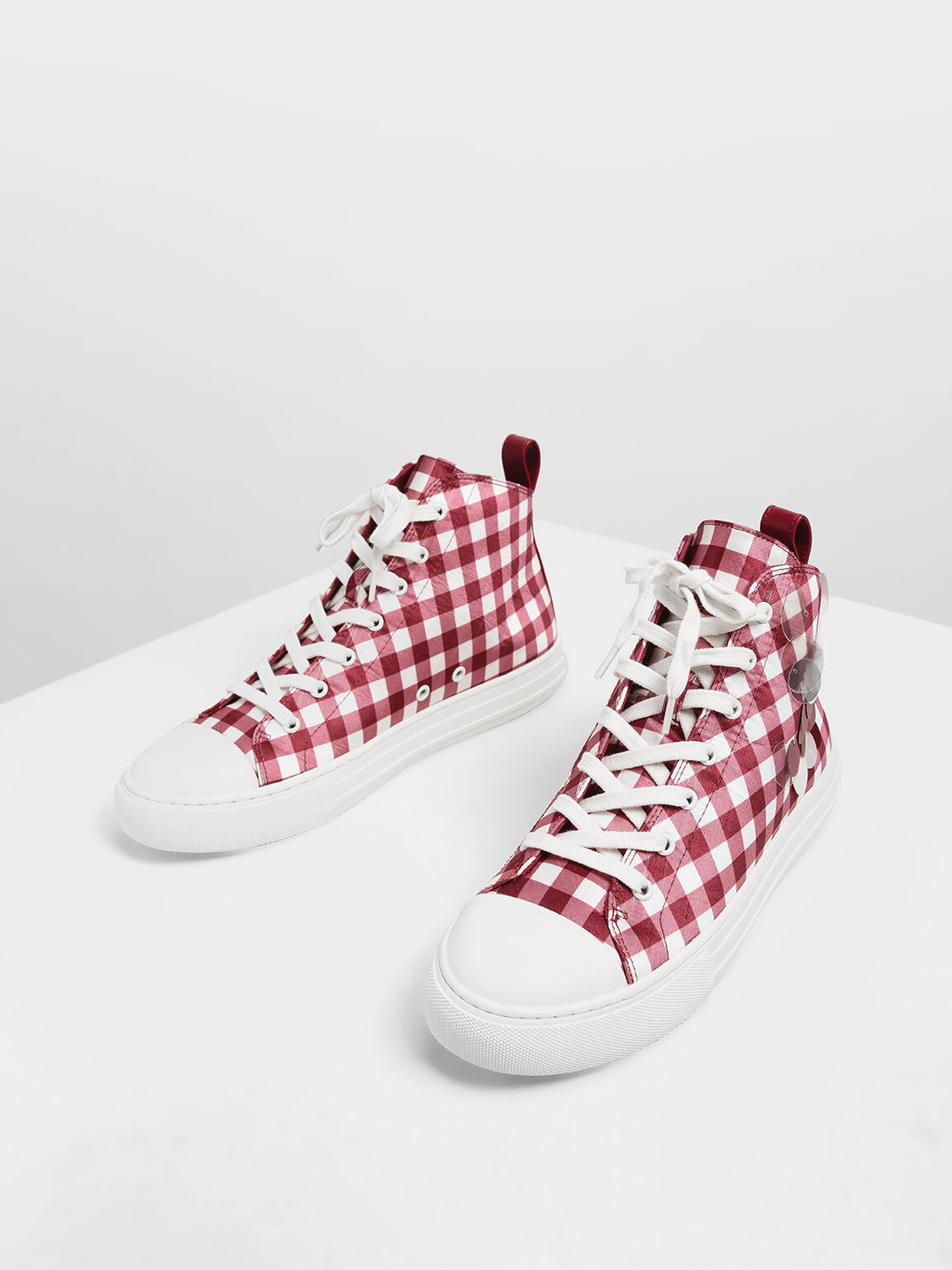 Check Print Sequin High Top Sneakers, Red, hi-res