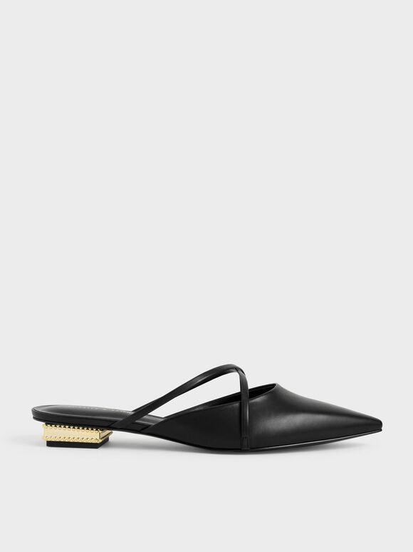 華麗低跟尖頭鞋, 黑色, hi-res