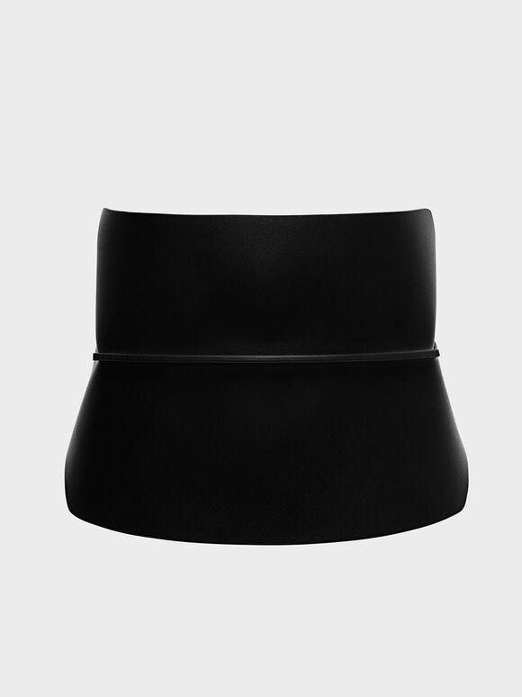 Wide Waist Belt, Black, hi-res