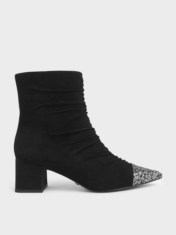 Glitter Ankle Boots (Kid Suede), Black, hi-res
