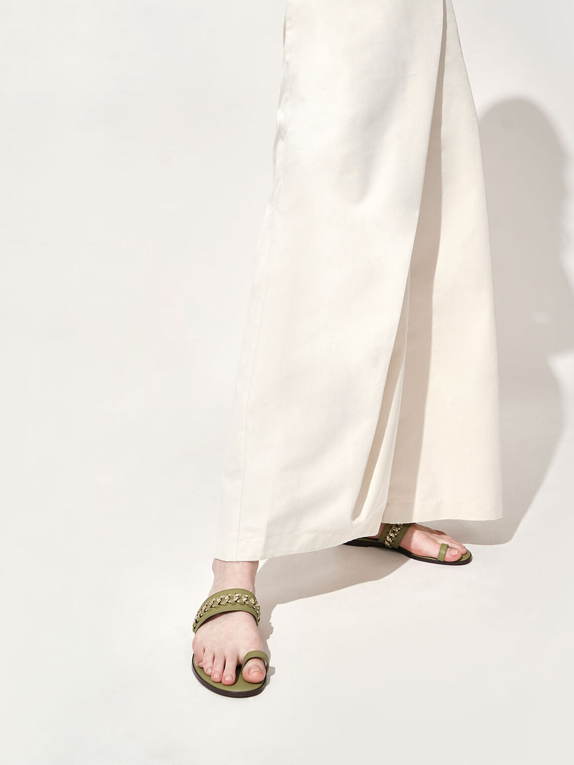 真皮編織平底拖鞋, 軍綠色, hi-res