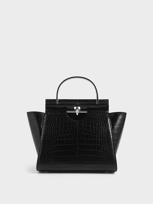 Croc-Effect Trapeze Bag, Black, hi-res