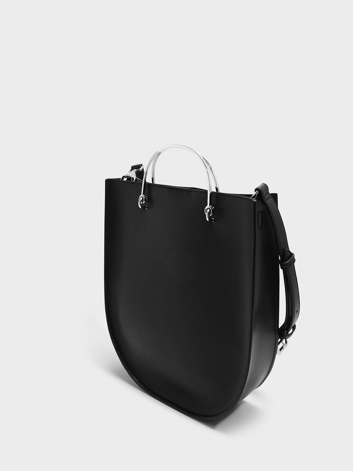 Curved Edge Tote Bag, Black, hi-res