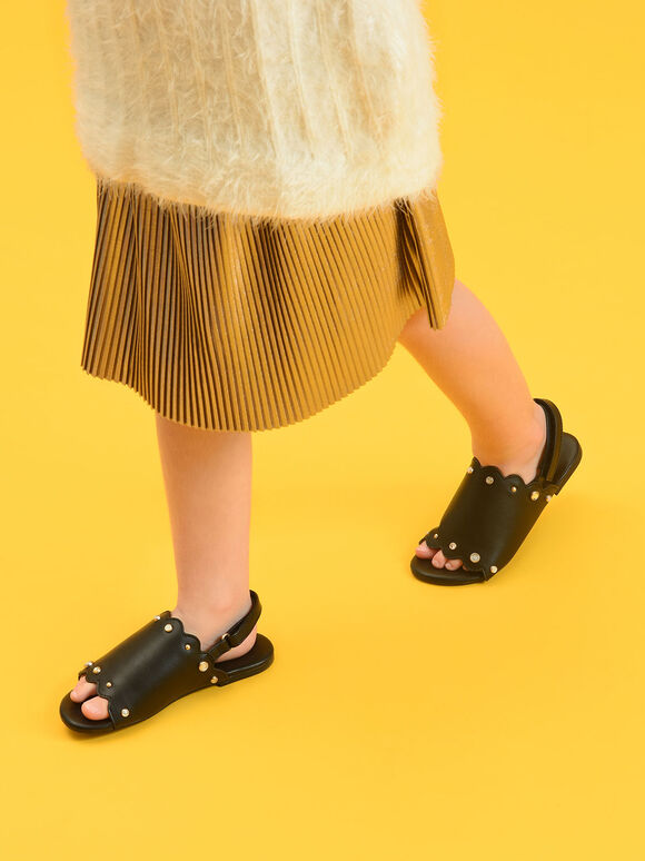 Kids Embellished Slingback Sandals, Black, hi-res