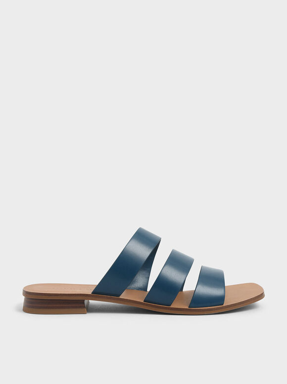 Tri-Strap Slide Sandals, Blue, hi-res