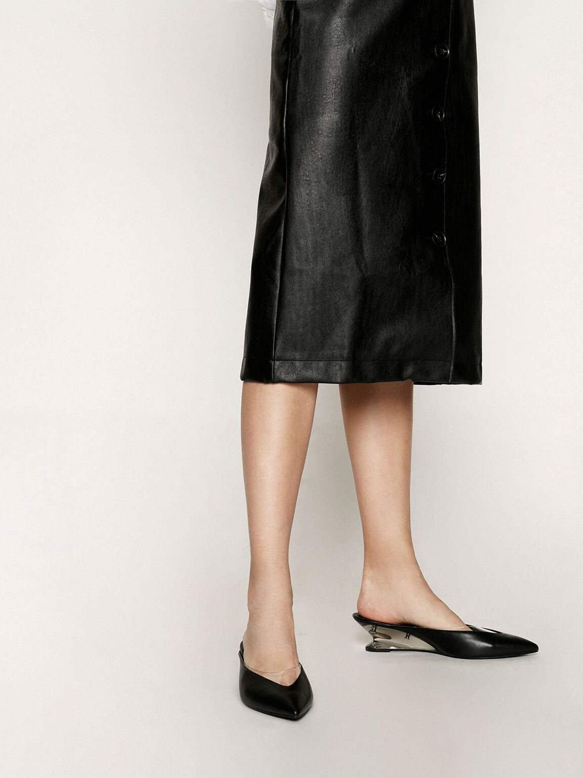 See-Through Effect Pointed Toe Mules, Black, hi-res