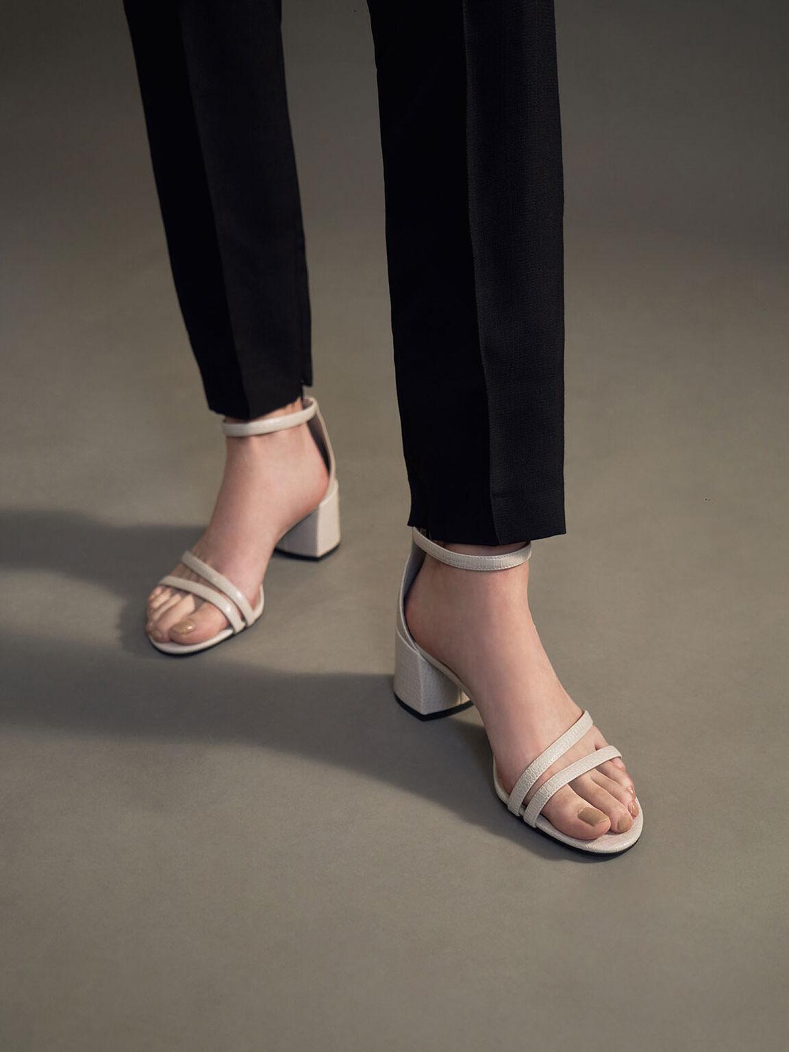 Snake Print Ankle Strap Sandals, Animal Print Natural, hi-res