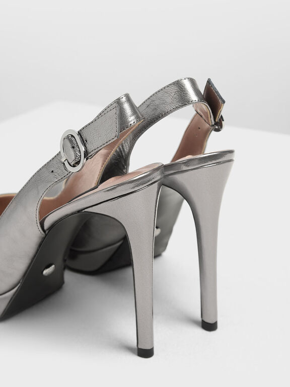 Wrinkled-Effect Leather Slingback Platform Heels, Pewter, hi-res