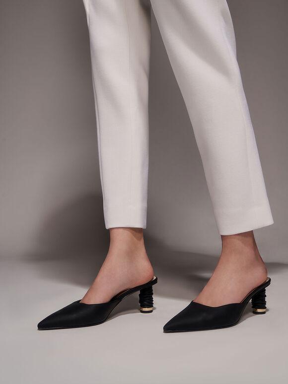 皺褶跟穆勒鞋, 黑色, hi-res
