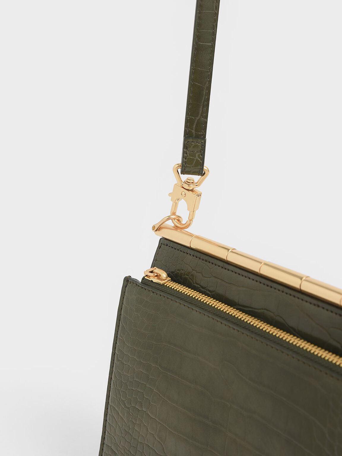 Croc-Effect Angular Crossbody Bag, Olive, hi-res