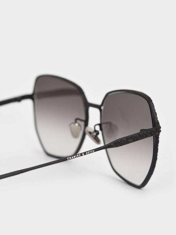 Metal Frame Butterfly Sunglasses, Black, hi-res