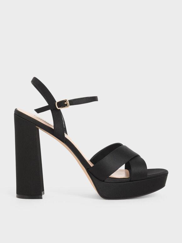 Satin Platform Heels, Black, hi-res
