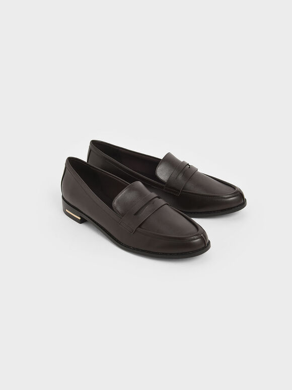 Classic Penny Loafers, Dark Brown, hi-res