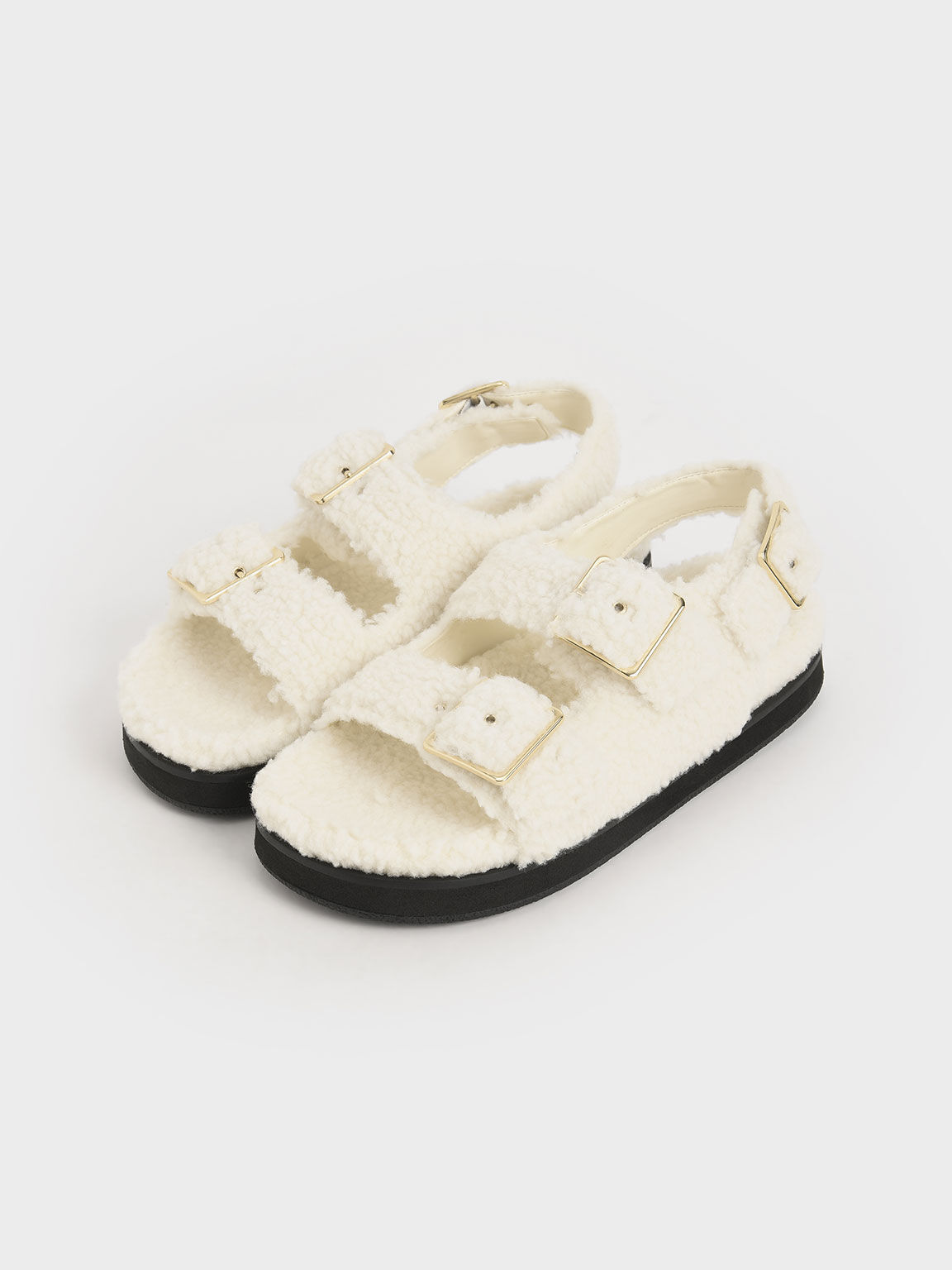 Recycled PET - Furry Flat Sandals, Chalk, hi-res
