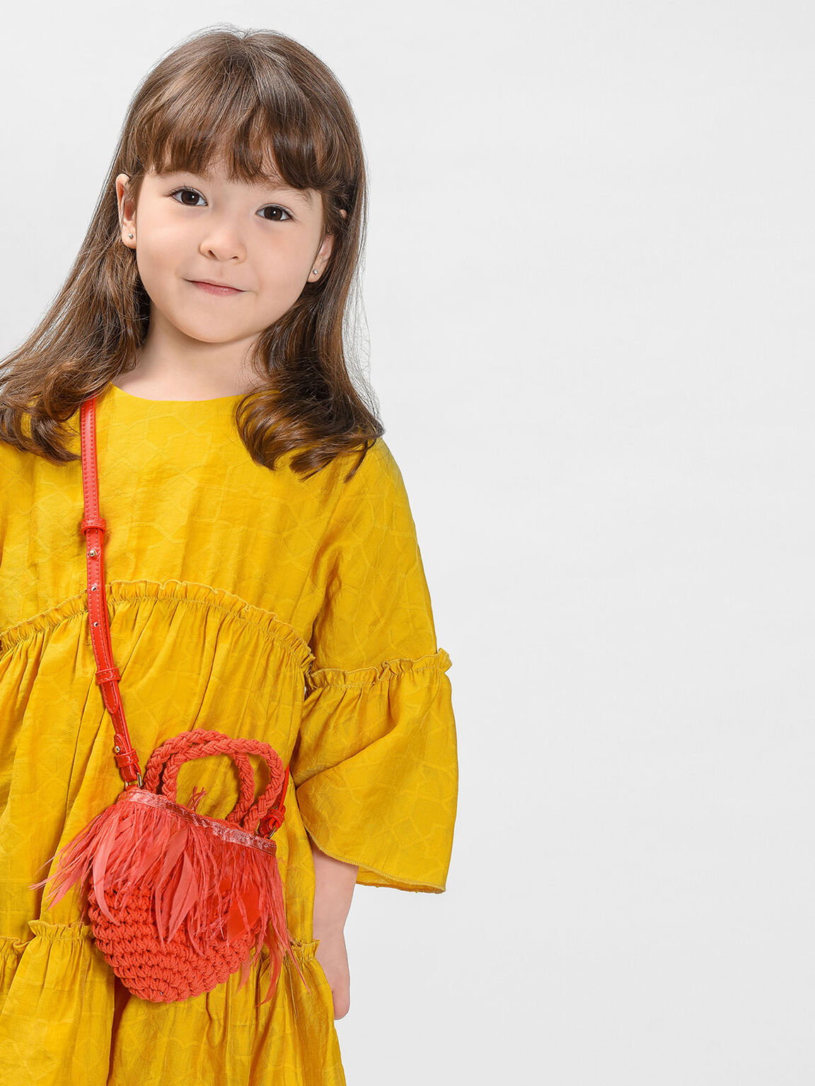 Kids Feathered Woven Bag, Orange, hi-res