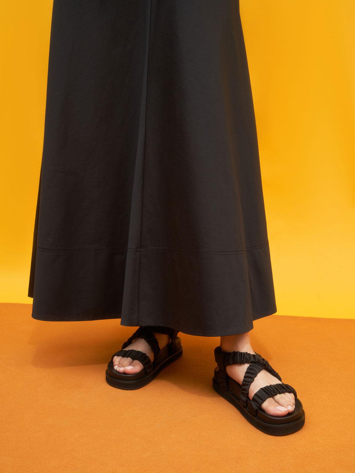 Grosgrain Ruched Crossover Sandals, Black, hi-res