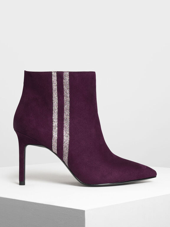Glitter Stripe Detail Ankle Boots, Prune, hi-res