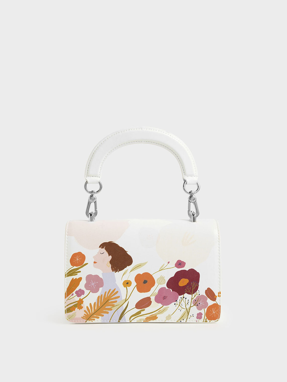 CHARLES & KEITH by Oamul Lu: Floral Illustration Mini Top Handle Bag, White, hi-res