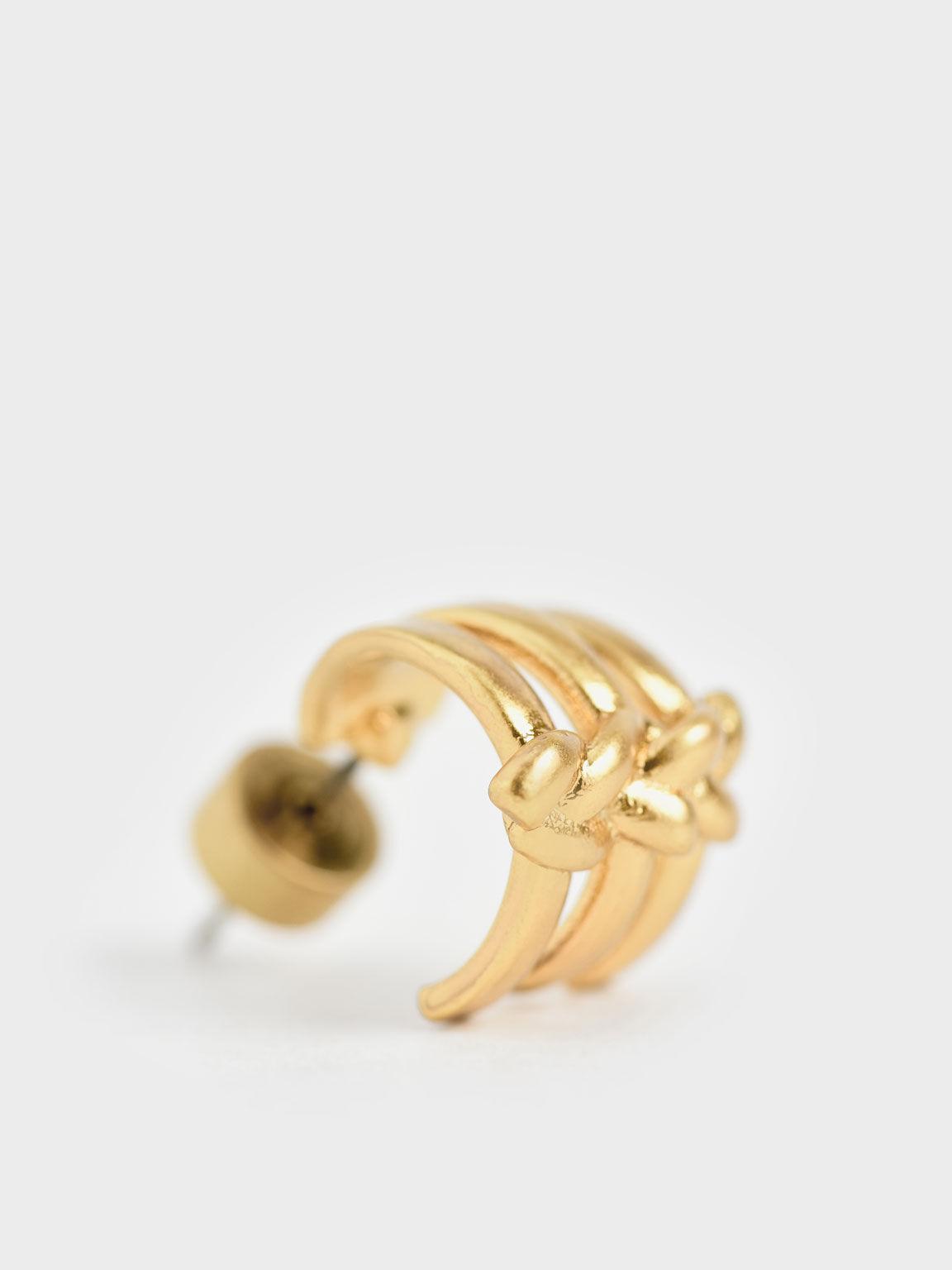 Sculptural Stud Earrings, Brush Gold, hi-res
