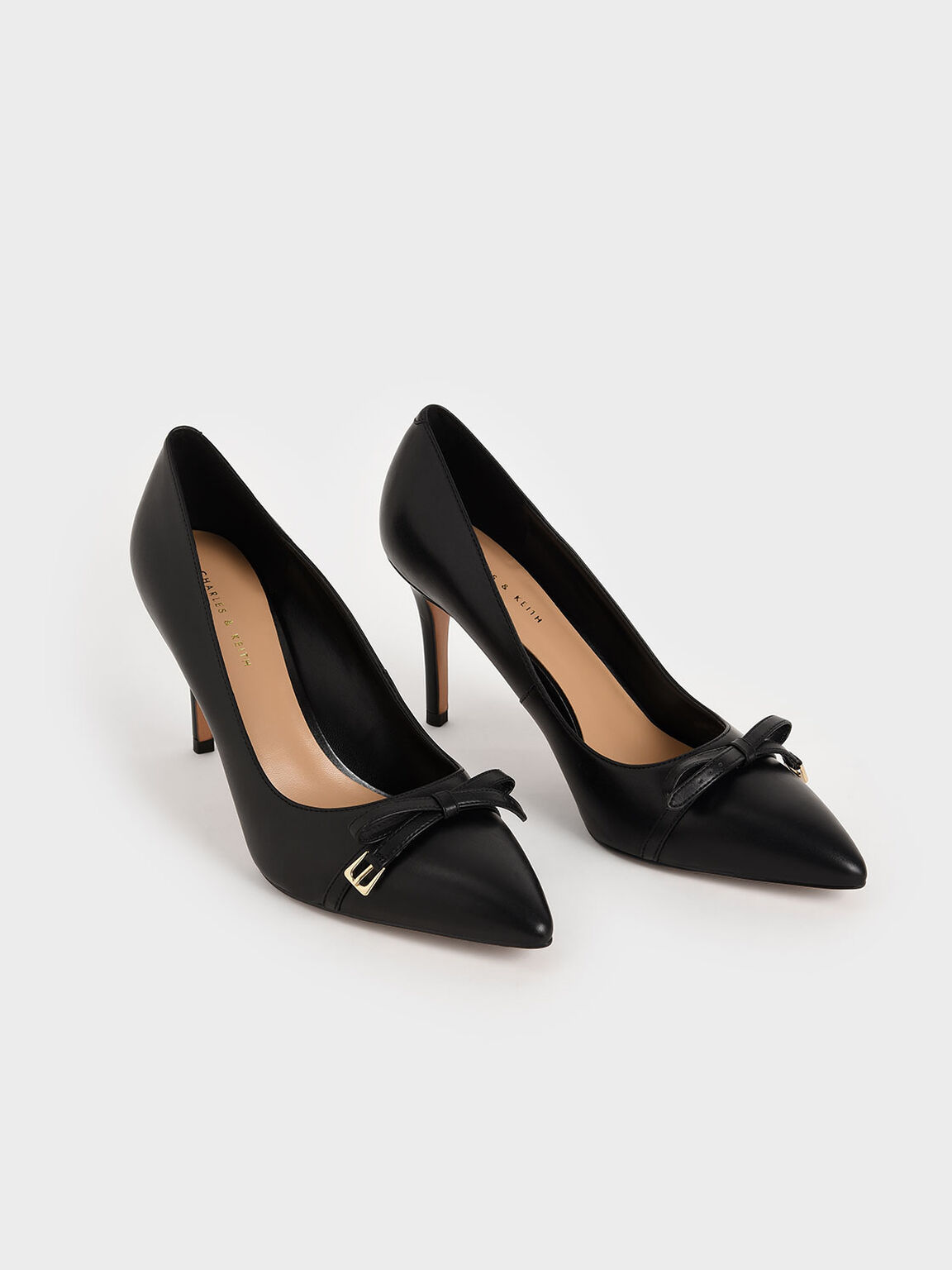 Bow Stiletto Pumps, Black, hi-res