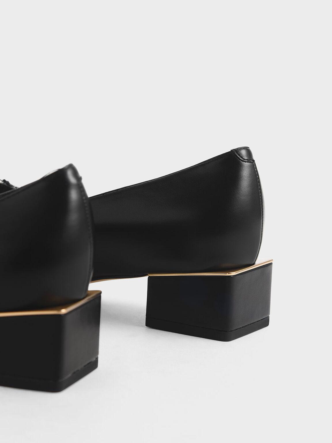 Block Heel Loafers, Dark Blue, hi-res