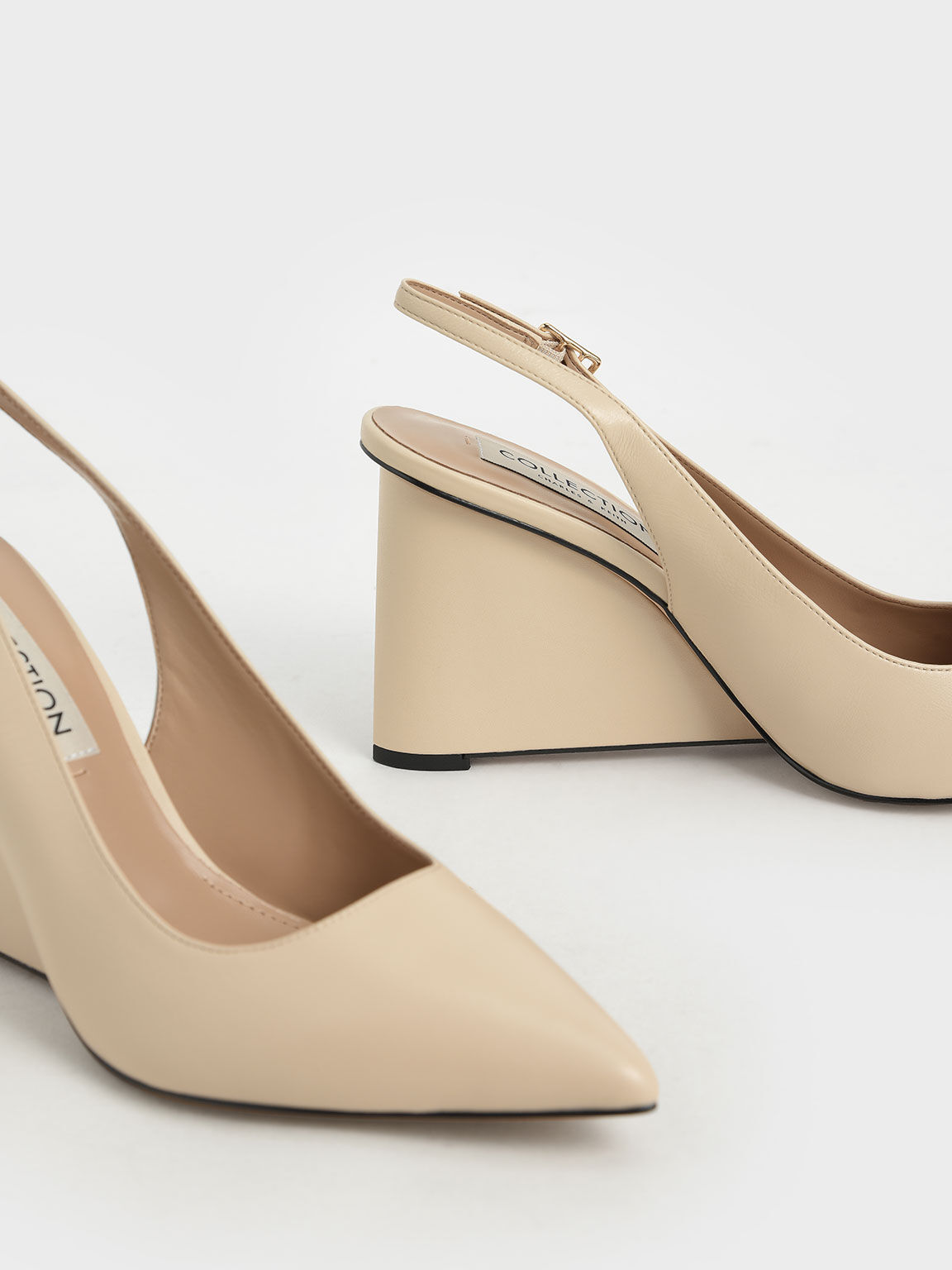 Leather Pointed Toe Slingback Wedges, Chalk, hi-res