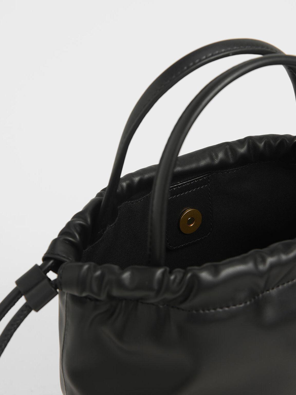 中型抽繩托特包, 黑色, hi-res