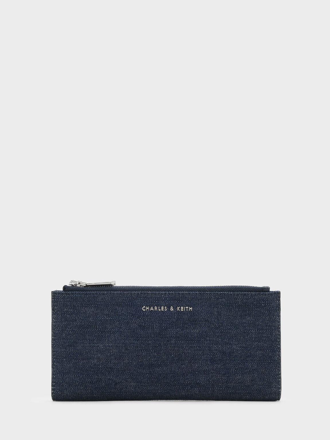 Long Zip Wallet, Navy, hi-res