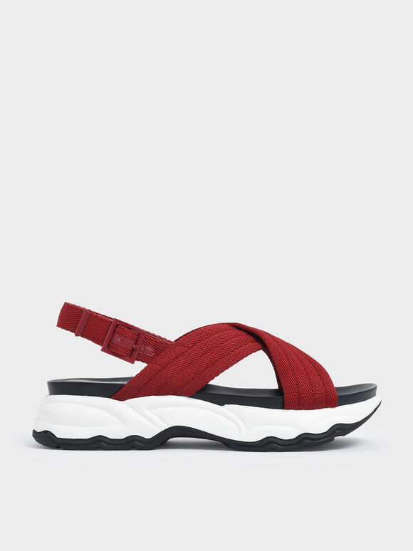 Nylon Criss Cross Chunky Platform Sandals, Red, hi-res