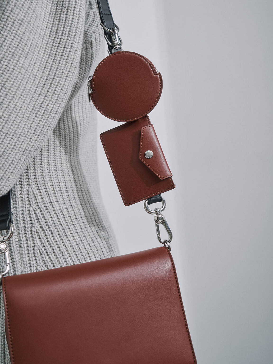Multi-Pouch Crossbody Bag, Brick, hi-res