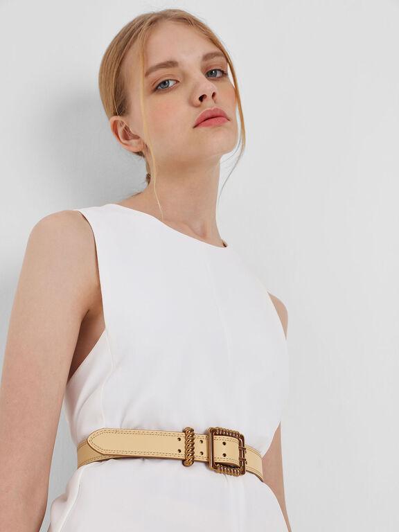Textured Buckle Belt, Yellow