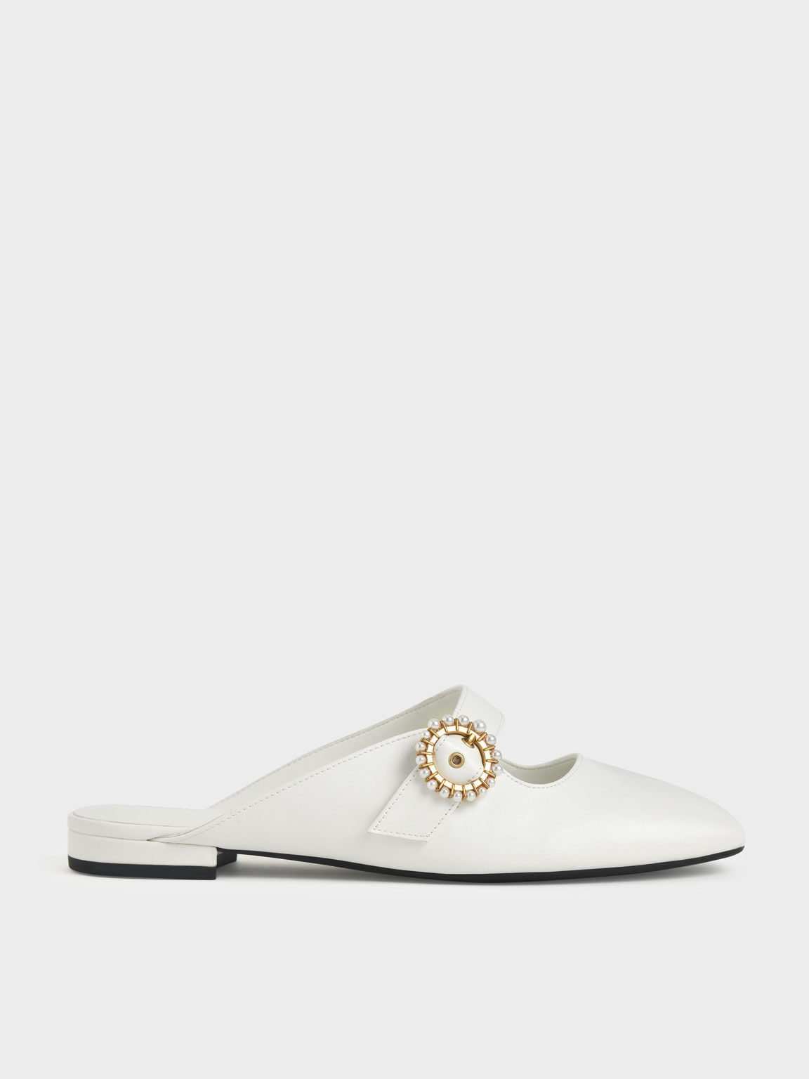 Beaded Buckle Mules, White, hi-res