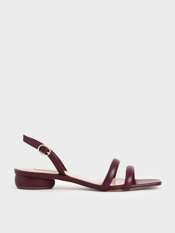 Tubular Slingback Sandals, Burgundy, hi-res