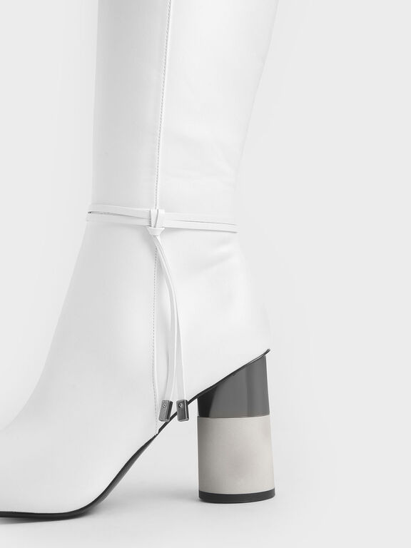 Concrete Heel Knee-High Boots, White