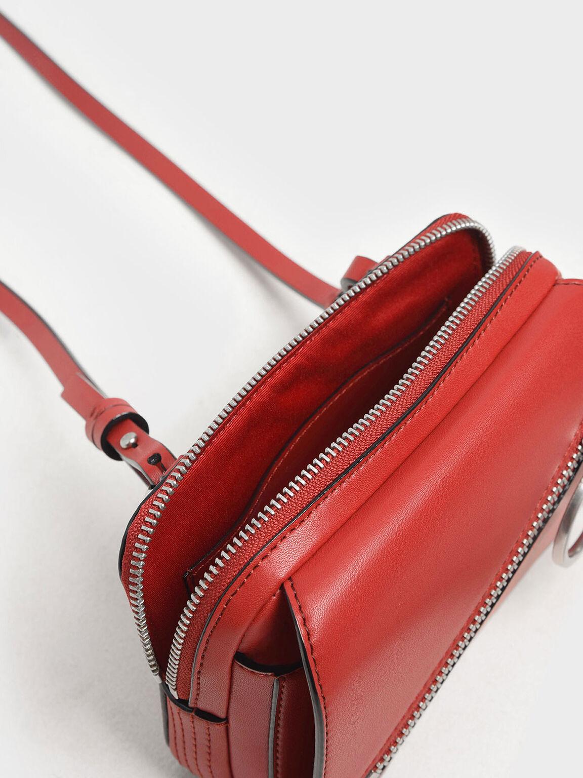Ring Zip Pocket Two-Way Belt Bag, Red, hi-res