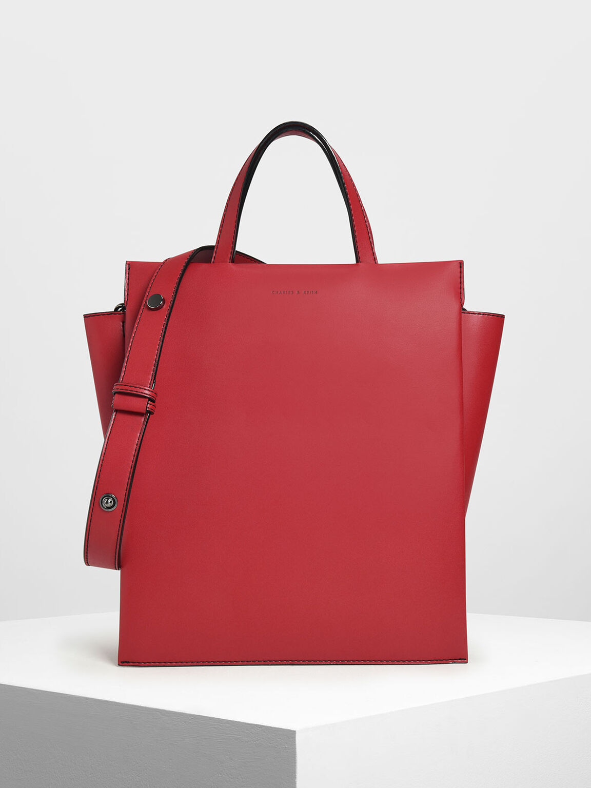 Double Handle Chain Link Tote Bag, Red, hi-res