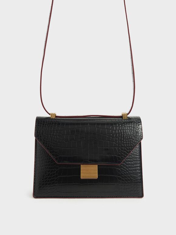 Croc-Effect Metal Accent Crossbody Bag, Black, hi-res