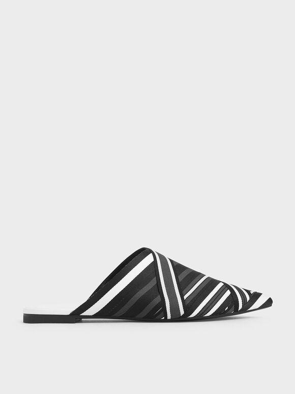 Multicoloured Grosgrain Mules, Black, hi-res