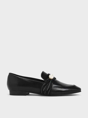 Embellished Pinstripe Ruched Detail Loafers, Black, hi-res