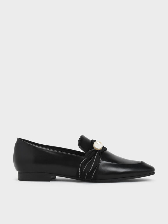 Embellished Pinstripe Ruched Detail Loafers, Black, hi-res