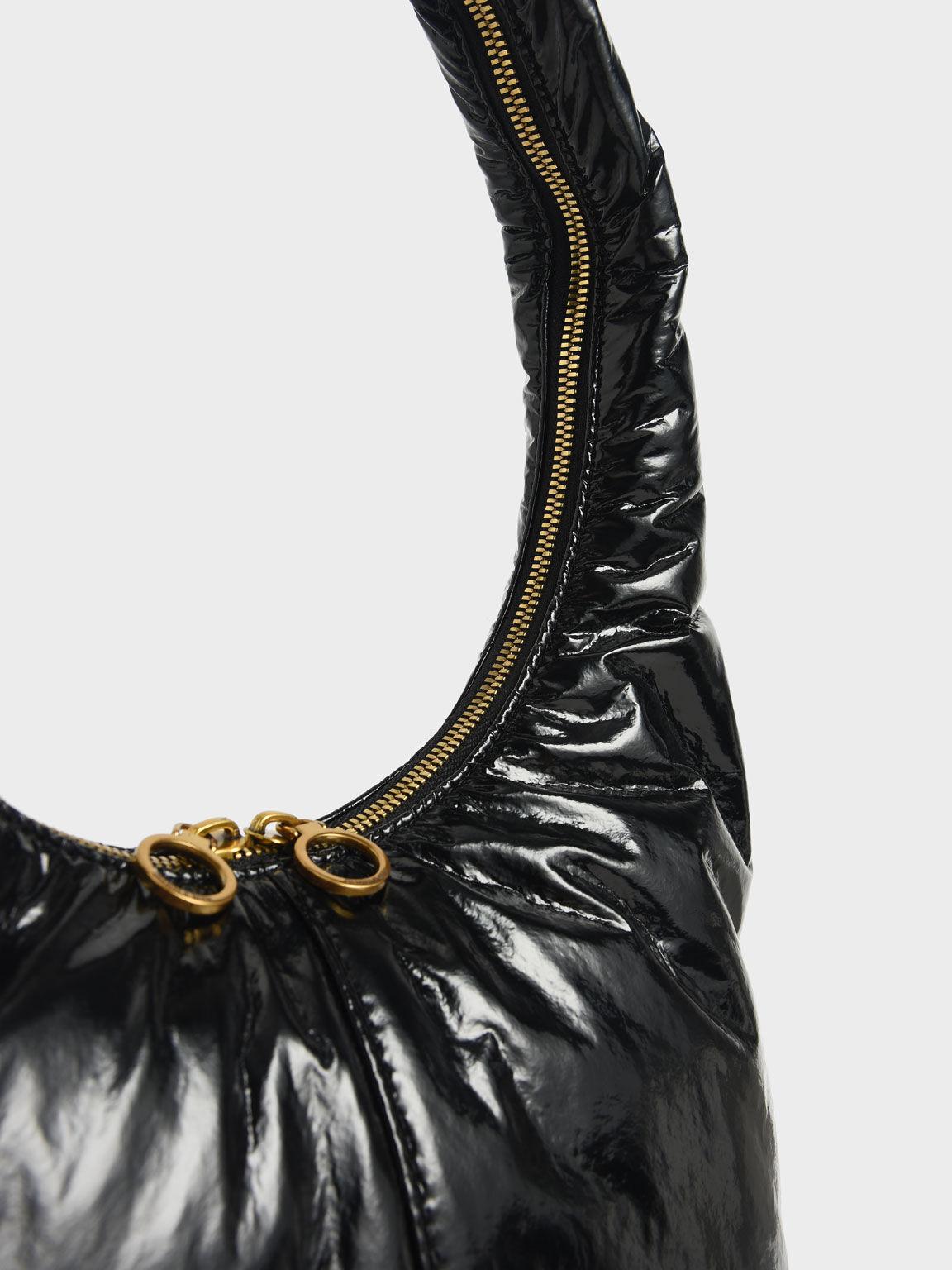 Wrinkled-Effect Large Hobo Bag, Black, hi-res