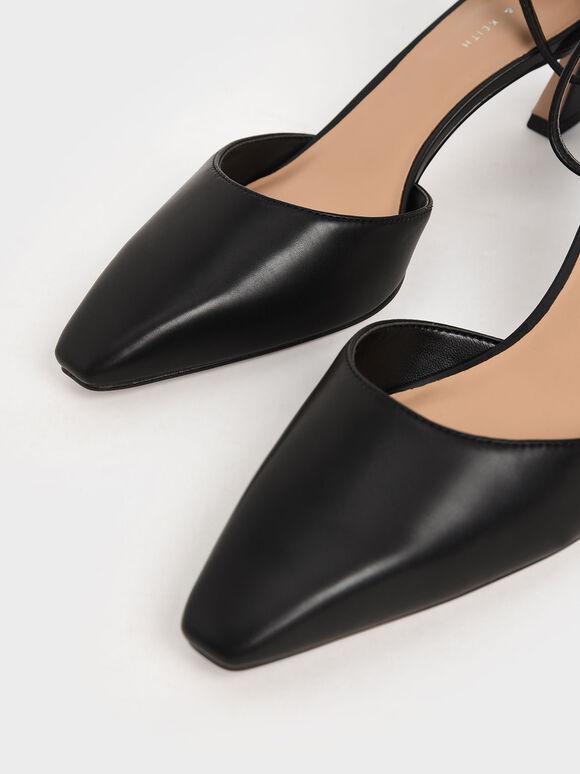 Slant Heel Ankle Strap Pumps, Black, hi-res
