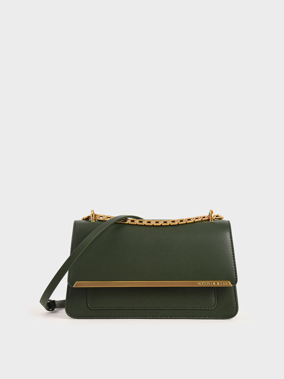 Metallic Accent Evening Clutch, Green, hi-res