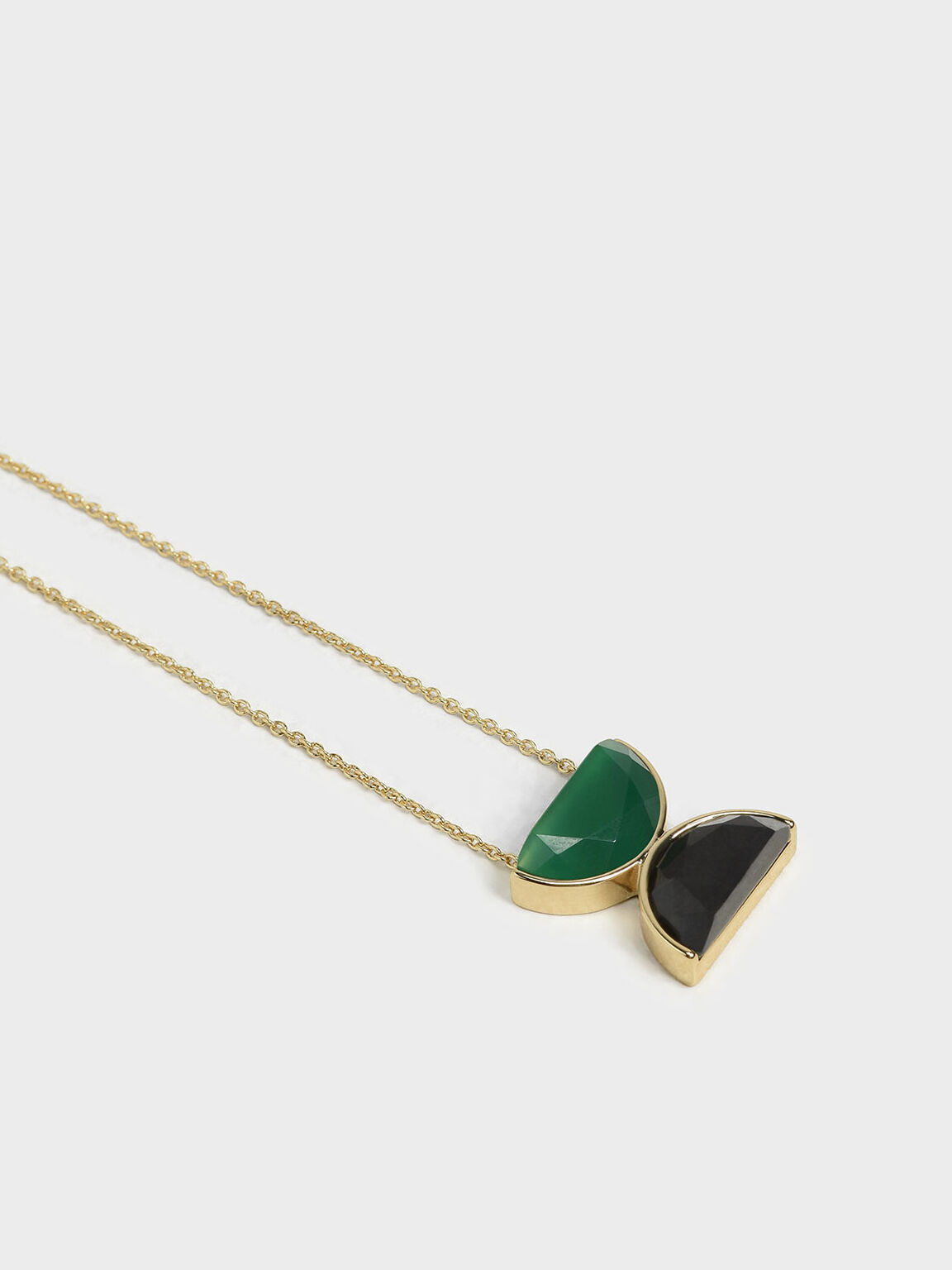 Black Marble Necklace, Green, hi-res