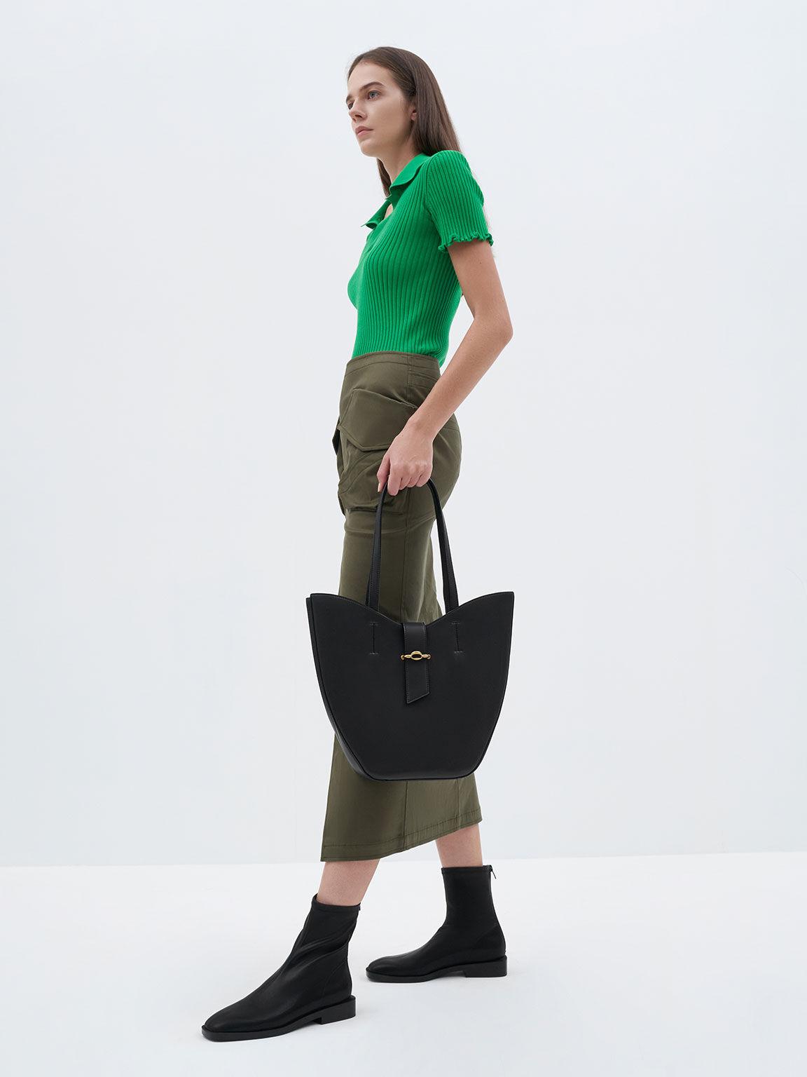 Square Toe Zip-Up Ankle Boots, Black, hi-res
