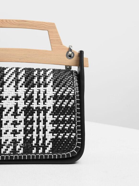 Woven Wood-Effect Top Handle Bag, Black, hi-res
