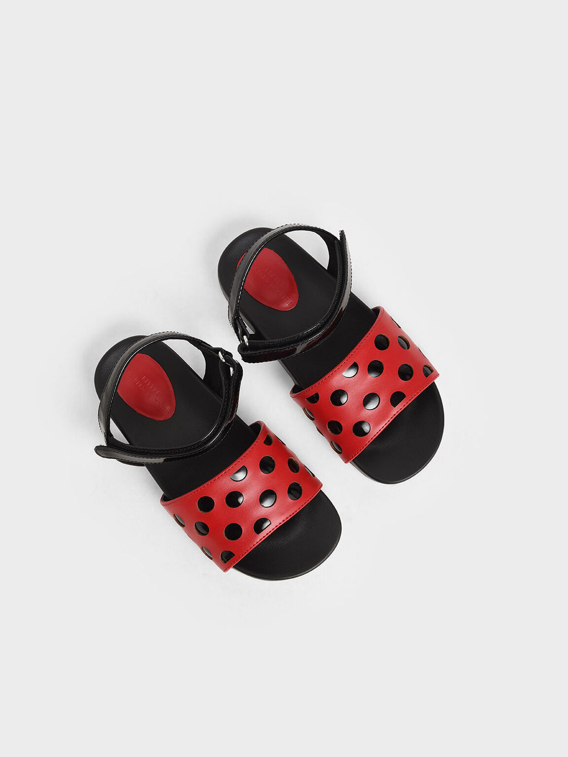 Girls' Two-Tone Laser-Cut Sandals, Red, hi-res